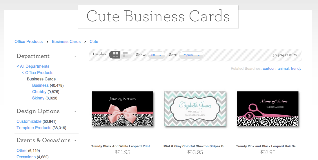 Pre-made business cards catalog sample