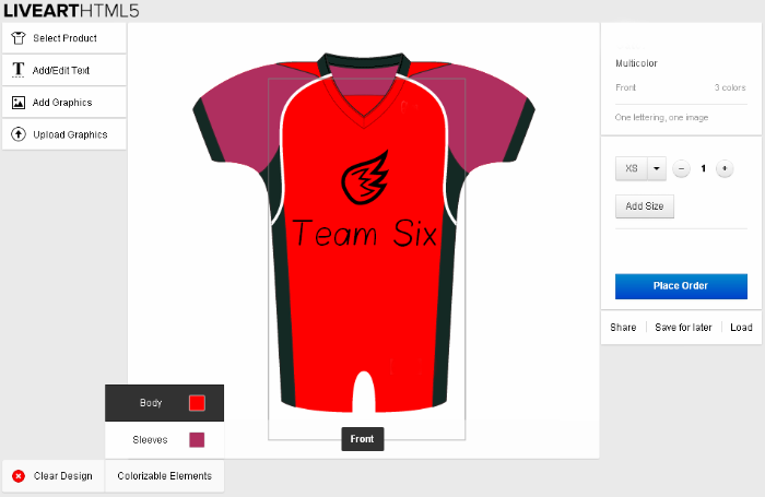 Designing uniform with LiveArt HTML5 designer