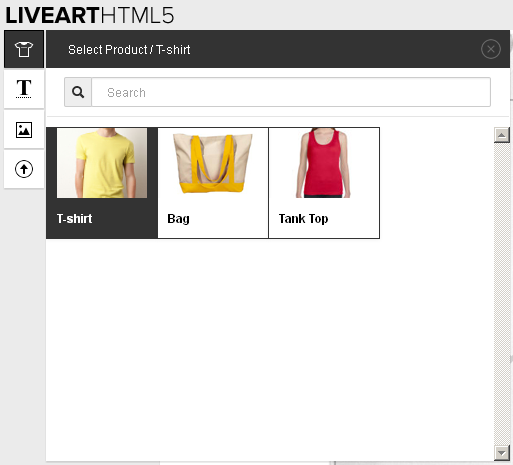 Select different products feature in LiveArt Html5 designer