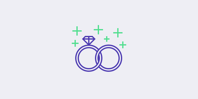 two weeding rings icon