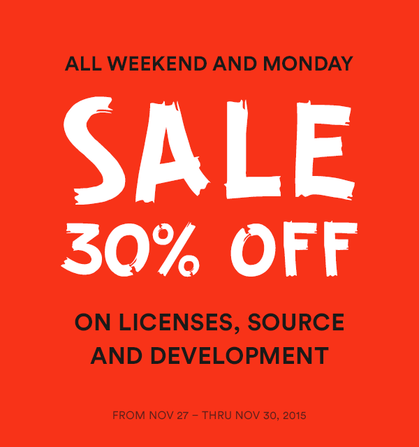 Black friday 30% sales on license, source and development