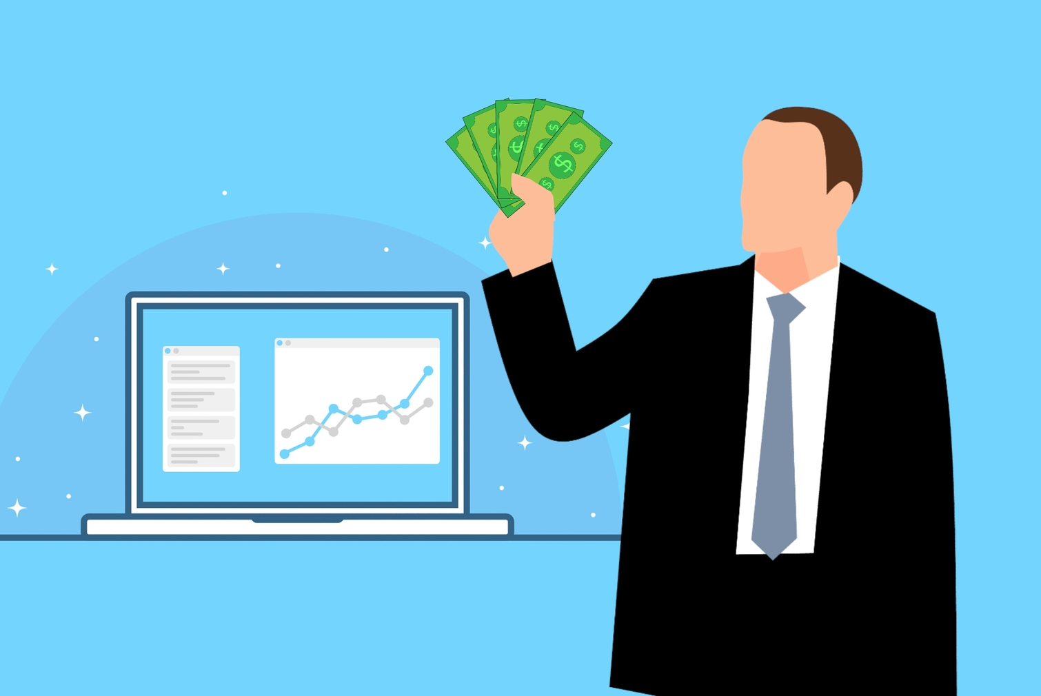 Man holding a lot of money, and profit increase graph on the background