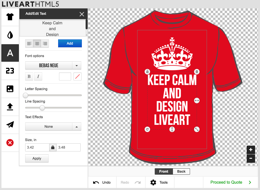 LiveArt designer example on red t-shirt