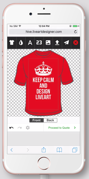 LiveArt designer example on red t-shirt on mobile version